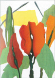 Rote Blumen Trilogie I Print by Walter Muth