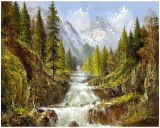 Waterfall In The Carpathians Prints by Helmut Glassl