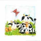 Littles Cows And Butterflies Art by Urpina 