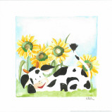 Little Cow And Sunflowers Poster by  Urpina