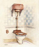 Vintage Toilet I Prints by Conde