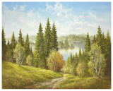 Lake Near Cernivci Prints by Helmut Glassl