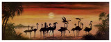 Flamingos In The Sunset Poster by  Werner
