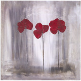3 Coquelicots Fond Gris Art by Marielle Paccard
