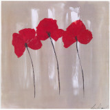 3 Coquelicots Fond Beige Prints by Marielle Paccard