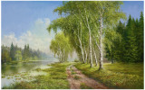 Path At The Lake Poster by Helmut Glassl