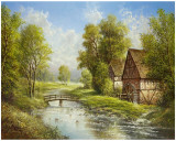 Mill At The River Prints by Helmut Glassl