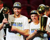 Dirk Nowitzki &amp; Jason Kidd 2011 NBA Championship &amp; MVP Trophies Game 6 of the 2011 NBA Finals Photo