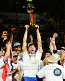 Dirk Nowitzki with the 2011 NBA Championship Trophy Game 6 of the 2011 NBA Finals Photo