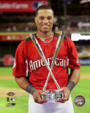 Robinson Cano with the 2011 Home Run Derby Champion Trophy Photo