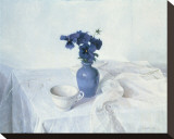 Pansies in a Blue Vase Stretched Canvas Print by Arthur Easton