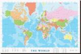 Kart over verden Trykk på strukket lerret