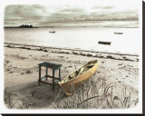 Bateau Sur Plage Stretched Canvas Print by Jean Onesti