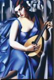 Femme en Bleu Avec Guitare Stretched Canvas Print by Tamara de Lempicka