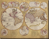 Antique Map, Globe Terrestre, c.1690 Stretched Canvas Print by Vincenzo Coronelli