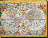 Antique Map, Orbis Terrarum, 1636 Stretched Canvas Print by Jean Boisseau