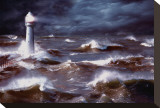 Lighthouse and Waves, South Africa Stretched Canvas Print