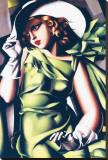 Ung jente i grønt Trykk på strukket lerret av Tamara de Lempicka