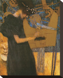 Die Musik Bedruckte aufgespannte Leinwand von Gustav Klimt