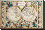 Antique Map, Mappe Monde, 1755 Stretched Canvas Print by Jean-baptiste Nolin
