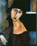 Jeanne Hebuterne Stretched Canvas Print by Amedeo Modigliani