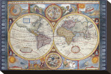 Antique Map, New Map of the World, 1626 Stretched Canvas Print by John Speed