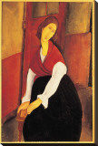 Jeanne Hebuterne with Red Shawl Stretched Canvas Print by Amedeo Modigliani