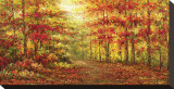 Autumn Path in Gogh Stretched Canvas Print