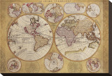 Antique Map, Globe Terrestre, 1690 Stretched Canvas Print by Vincenzo Coronelli