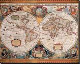 Carte géographique ancienne Reproduction transférée sur toile par Henricus Hondius