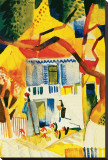 Inner Court of the Country House in St-Germain, 1914 Stretched Canvas Print by Auguste Macke