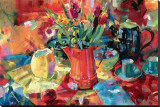 Cruche de fleurs Reproduction transférée sur toile par Peter Graham