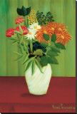 Green Flowers Stretched Canvas Print by Henri Rousseau
