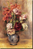 Vase of Gladiolas and Roses Stretched Canvas Print by Pierre-Auguste Renoir