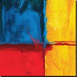 Composition abstraite en bleu Reproduction transférée sur toile par Carmine Thorner
