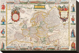 Antique Map, Nova Europa, 1652 Stretched Canvas Print by Nicholas Visscher