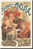 Bieres de La Meuse Stretched Canvas Print by Alphonse Mucha
