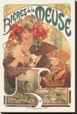 Bieres de La Meuse Stretched Canvas Print by Alphonse Mucha