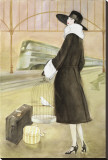 Lady at Train Station Stretched Canvas Print by Graham Reynold