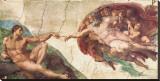 De schepping van Adam Kunstdruk op gespannen doek van Michelangelo Buonarroti,