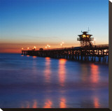 San Clemente Pier Stretched Canvas Print by Shane Settle