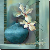 Lilies in a Blue Vase Stretched Canvas Print by Louise Montillio