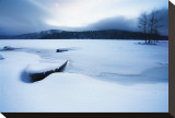 Lake of Woods Boat in Snow Stretched Canvas Print by Shane Settle