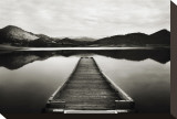 Emigrant Lake Dock I in Black and White Stretched Canvas Print by Shane Settle