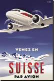 Venez en Suisse par Avion Stretched Canvas Print by Michael Crampton