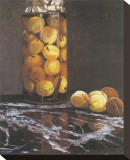 Jar of Peaches Stretched Canvas Print by Claude Monet