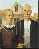 American Gothic, 1930 Stretched Canvas Print by Grant Wood