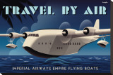Travel By Air, Imperial Airways Empire Flying Boat Stretched Canvas Print by Michael Crampton
