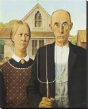 American Gothic Stretched Canvas Print by Grant Wood