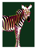 Zebra in Green Vertical Giclee Print by Ikuko Kowada